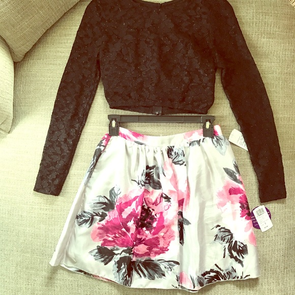738c078caef2 Windsor Dresses | Long Sleeve Two Piece Black Floral Prom Dress 3 ...